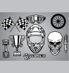 set of motocross racing with skull vector image vector image