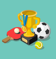 trophy cup with sport balls vector image