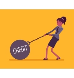 Businesswoman dragging a weight credit on chain vector