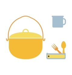 Camping pot mug spoon and fork vector image