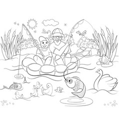 fishing father and son on the river coloring for vector image