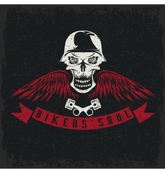 grunge biker theme label with flowerswingspistons vector image