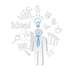 Paper man light and word idea on the background of vector image vector image