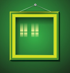 Retro picture frame on green wall vector
