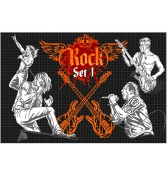 Rock-stars on rock concert - set vector image
