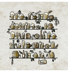 Shelves with beer sketch for your design vector image vector image