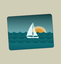 sunset sailboat and sea with waves vector image