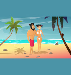 young man with girl rests on the beach vector image vector image