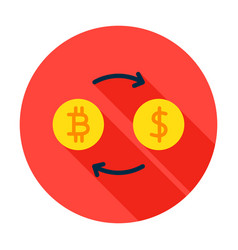 bitcoin exchange circle icon vector image vector image
