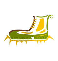 boots with crampons isolated on white background vector image vector image