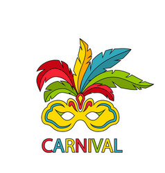 carnival mask with colorful feathers isolated vector image