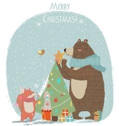 cute bear hare and fox - Christmas card vector image