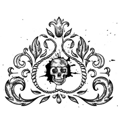 Design element with skull and leaves vector image vector image