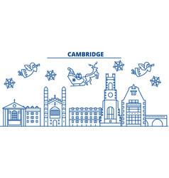 great britain cambridge winter city skyline vector image