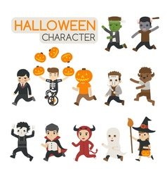 Set of halloween costume characters trick or tre vector image