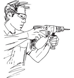 sketch of manual worker with electric drill vector image vector image