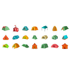 tent icon set cartoon style vector image