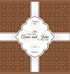 vntage brown swirl oriental pattern card vector image