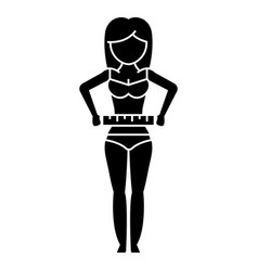 woman measuring her waist - diet fitness icon vector image