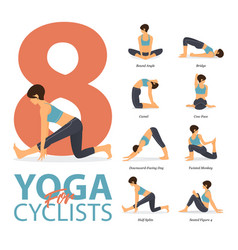 8 yoga poses for cyclist workout concept vector image