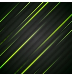 Abstract shiny green glowing stripes flyer vector image