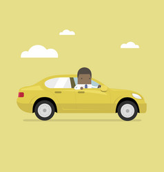 african businessman rides in the car vector image