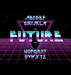 alphabet 80 s retro font typography for vector image