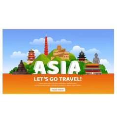 Asian travel detailed web banner with famous vector