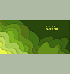 background with green color paper cut shapes 3d vector image