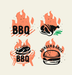 Bbq emblem on fire set for menu and cafe vector