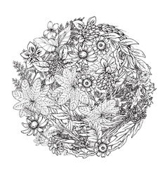 Beautiful monochrome floral pattern in vector