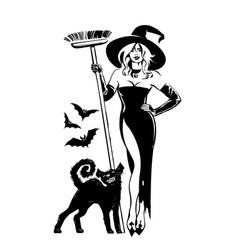 beautiful sexy witch holding broomstick with black vector image