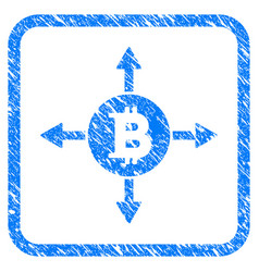 bitcoin directions framed stamp vector image