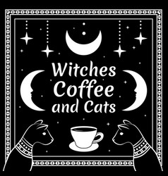 black cats and moon stars coffee cup vector image