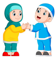 boy and girl are giving greeting vector image