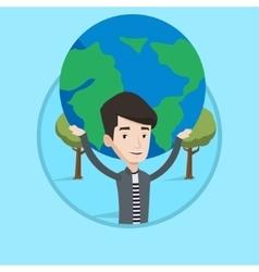 Businessman holding big Earth globe over head vector