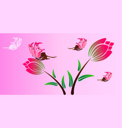 Butterfly and flower color drawing vector
