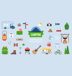 camping equipment infographic vector image