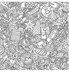 cartoon cute doodles hand drawn marine seamless vector image