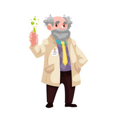 cartoon old chemist scientist with flask vector image
