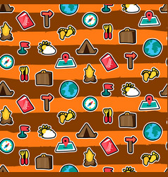 Cartoon travelling and camping seamless pattern vector