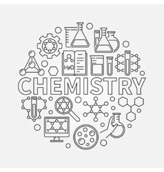 Chemistry line round vector image