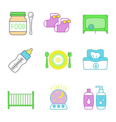childcare color icons set vector image