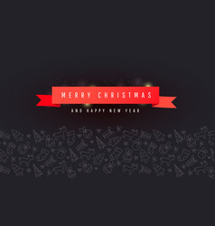 christmas and new year banner with red ribbon vector image