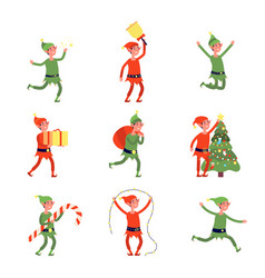 christmas elves cartoon elf flat santa helpers vector image