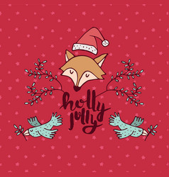 Christmas holiday red fox cartoon greeting card vector