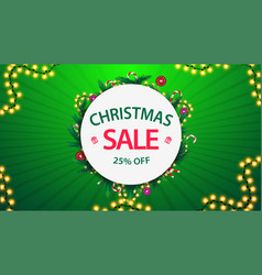 christmas sale up to 25 off green and white vector image