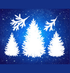 christmas spruce trees and branches silhouettes vector image vector image