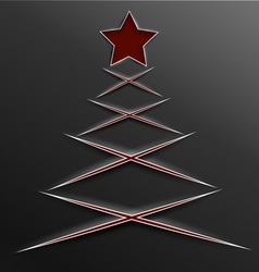 Christmas tree paper cut lines cross vector image
