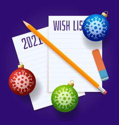christmas wish list covid19 coronavirus wish list vector image
